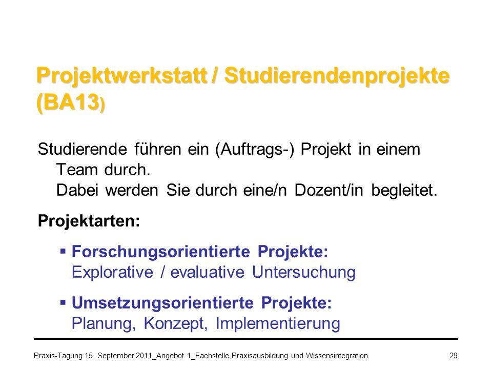 Projektwerkstatt / Studierendenprojekte (BA13)