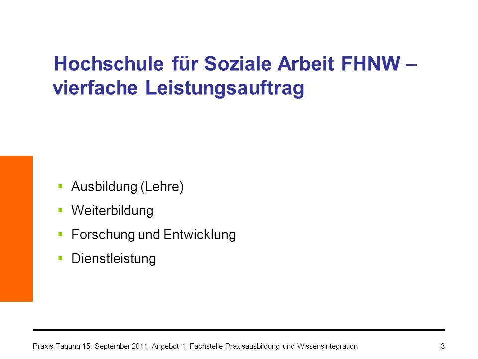 Hochschule für Soziale Arbeit FHNW – vierfache Leistungsauftrag