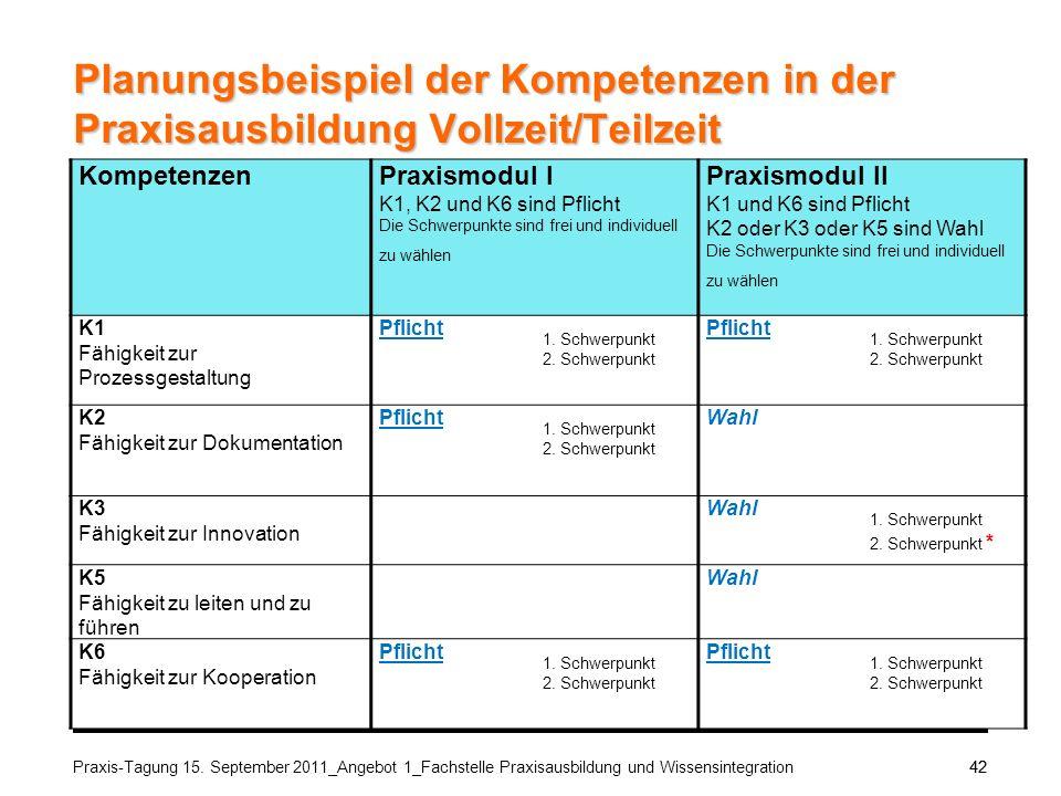 Planungsbeispiel der Kompetenzen in der Praxisausbildung Vollzeit/Teilzeit