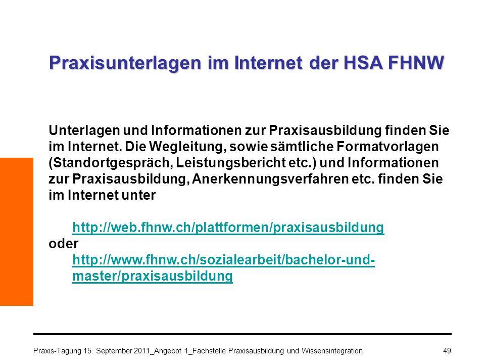 Praxisunterlagen im Internet der HSA FHNW
