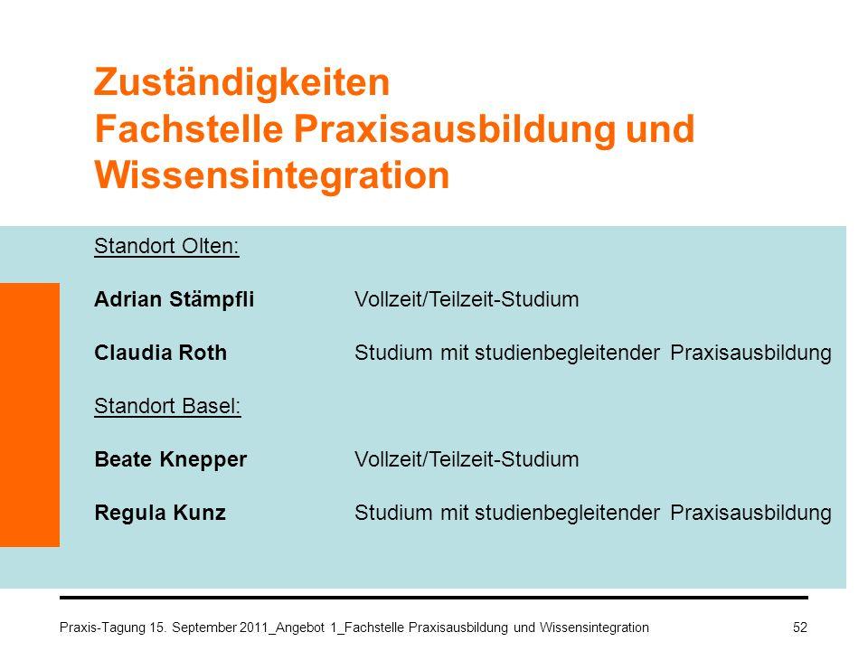 Zuständigkeiten Fachstelle Praxisausbildung und Wissensintegration