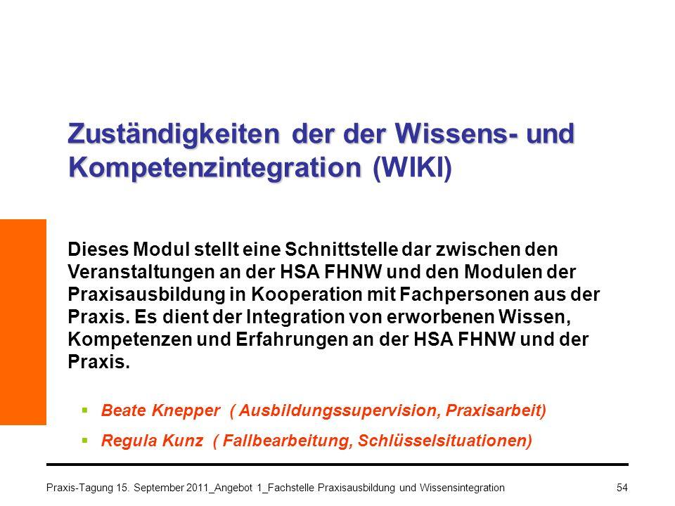 Zuständigkeiten der der Wissens- und Kompetenzintegration (WIKI)