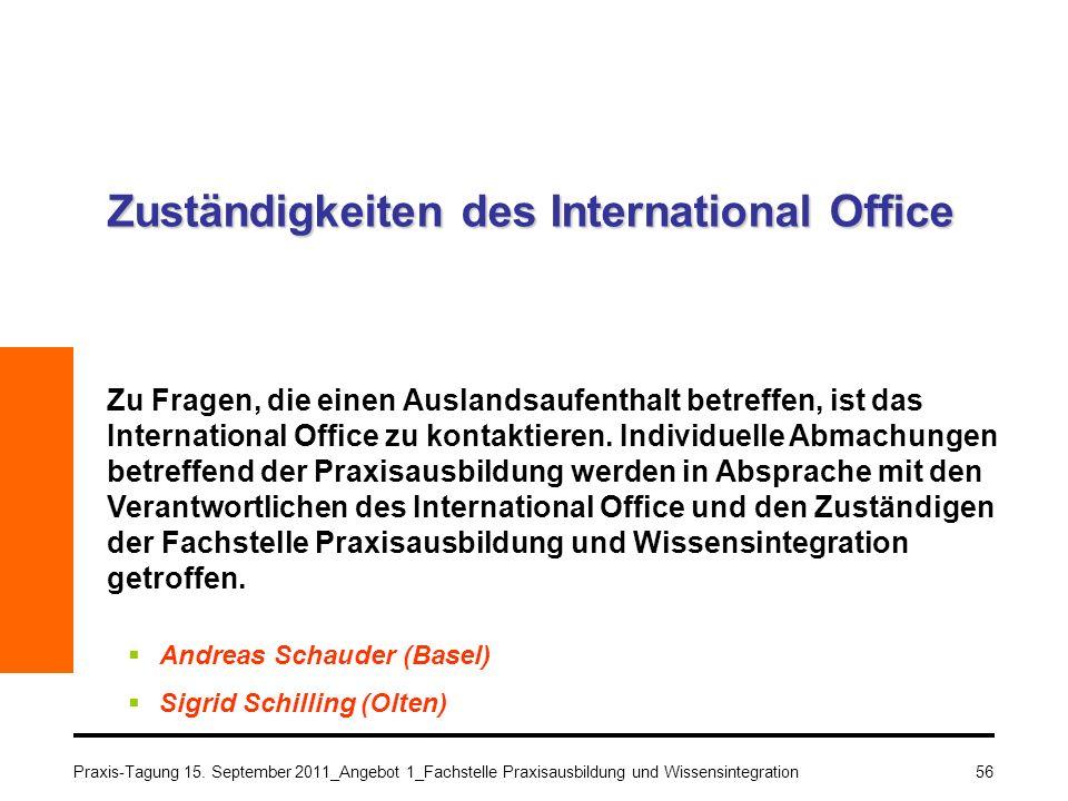 Zuständigkeiten des International Office
