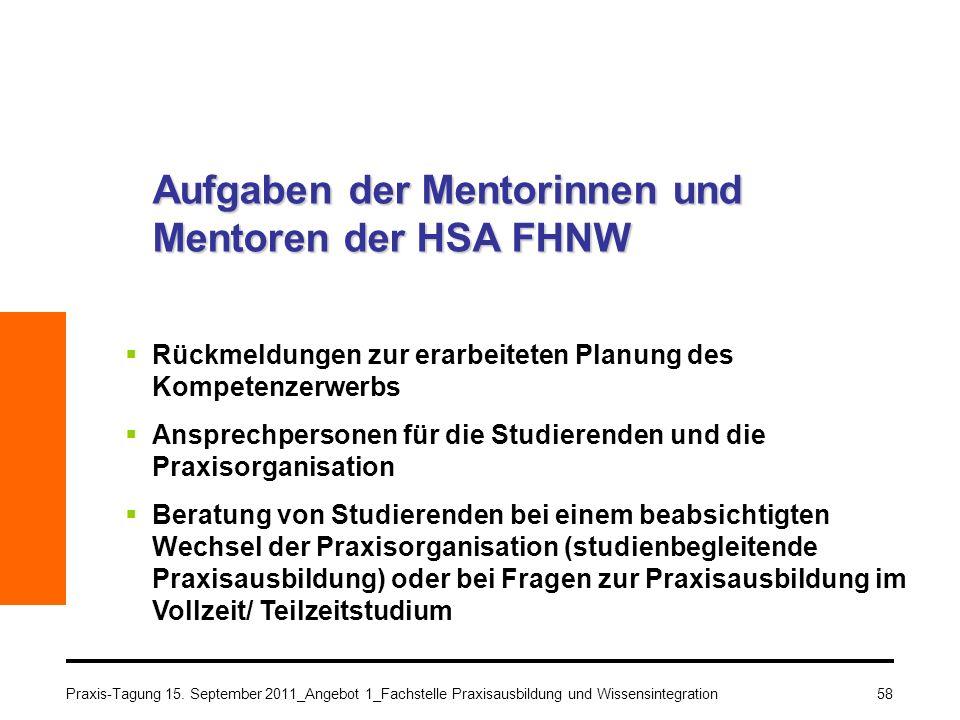 Aufgaben der Mentorinnen und Mentoren der HSA FHNW
