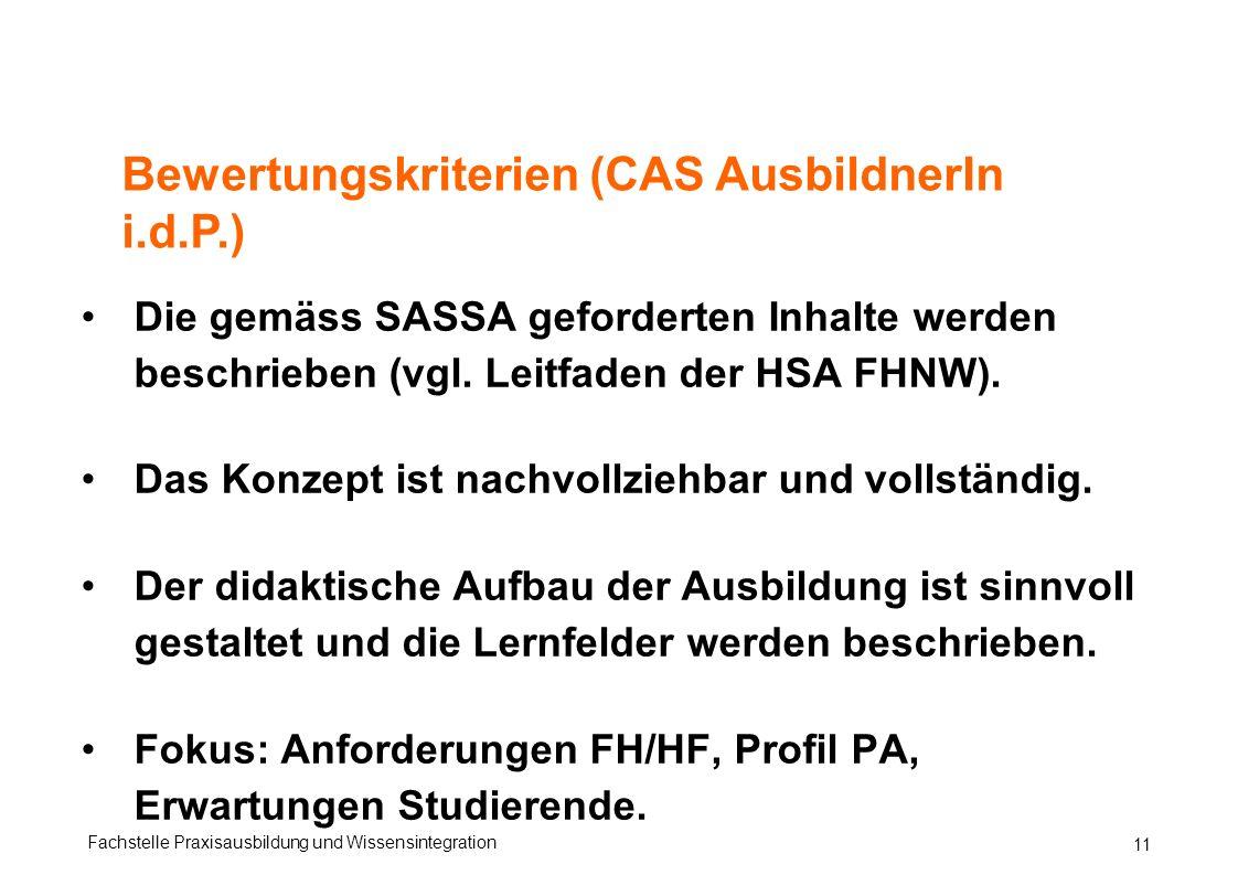 Bewertungskriterien (CAS AusbildnerIn i.d.P.)