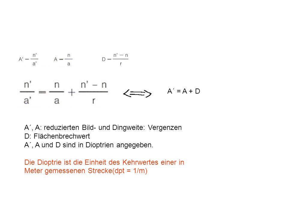 A´ = A + D A´, A: reduzierten Bild- und Dingweite: Vergenzen. D: Flächenbrechwert. A´, A und D sind in Dioptrien angegeben.