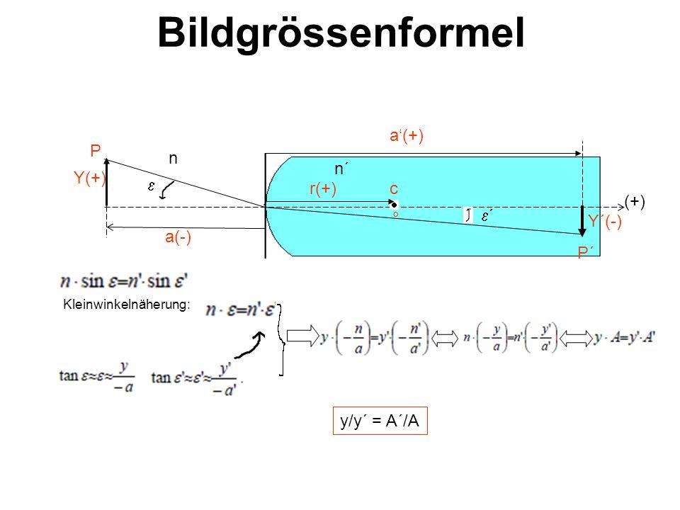 Bildgrössenformel a'(+) P n n´ Y(+) e r(+) c (+) e´ ° Y´(-) a(-) P´