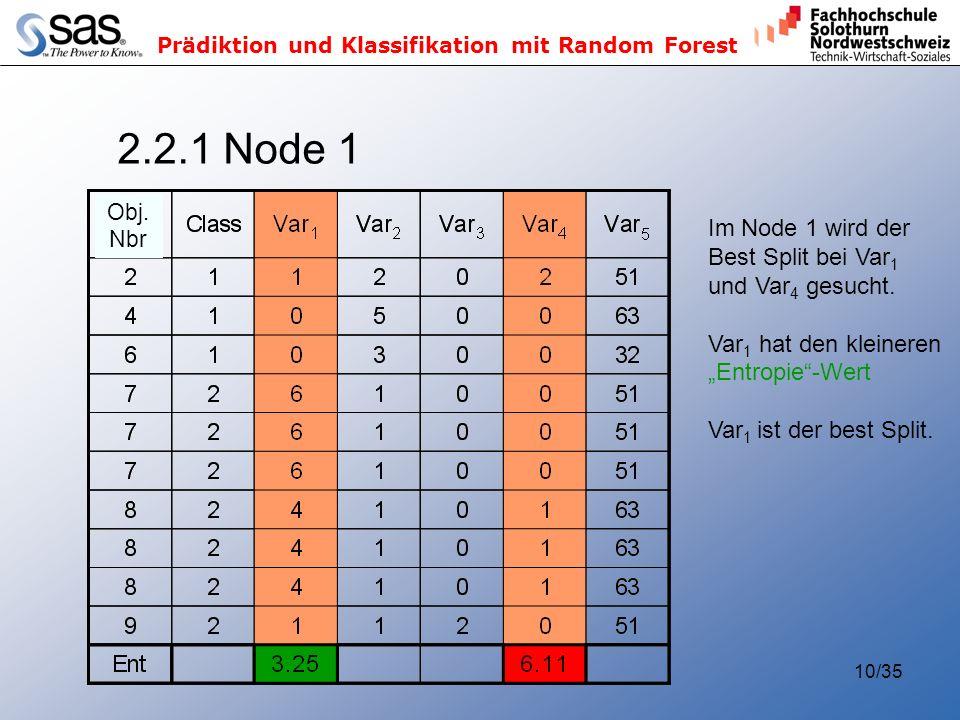 2.2.1 Node 1 Im Node 1 wird der Best Split bei Var1 und Var4 gesucht.