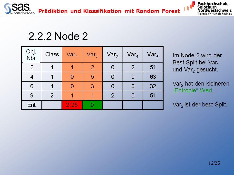 2.2.2 Node 2 Im Node 2 wird der Best Split bei Var1 und Var2 gesucht.