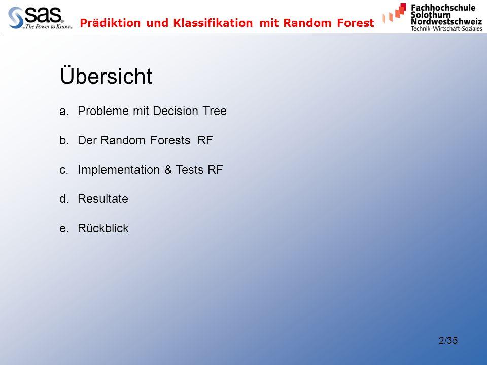 Übersicht Probleme mit Decision Tree Der Random Forests RF