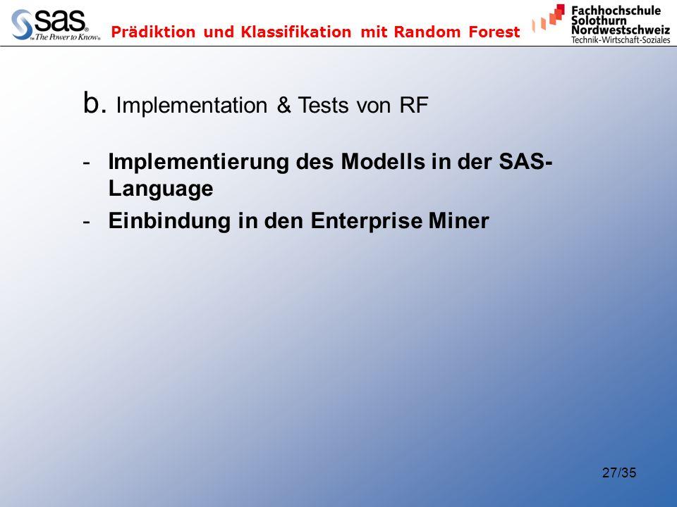 b. Implementation & Tests von RF