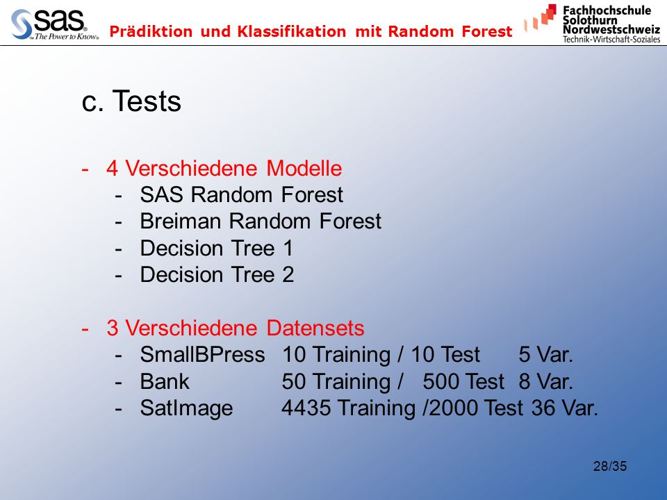 c. Tests 4 Verschiedene Modelle SAS Random Forest