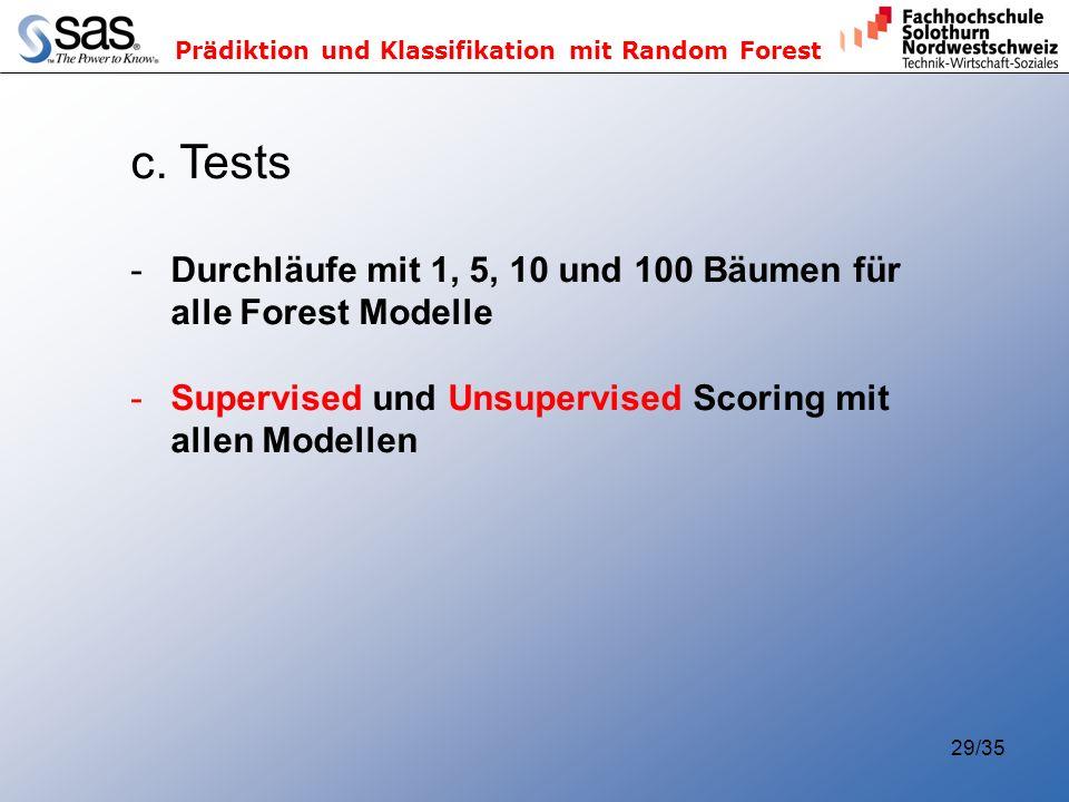 c. Tests Durchläufe mit 1, 5, 10 und 100 Bäumen für alle Forest Modelle.