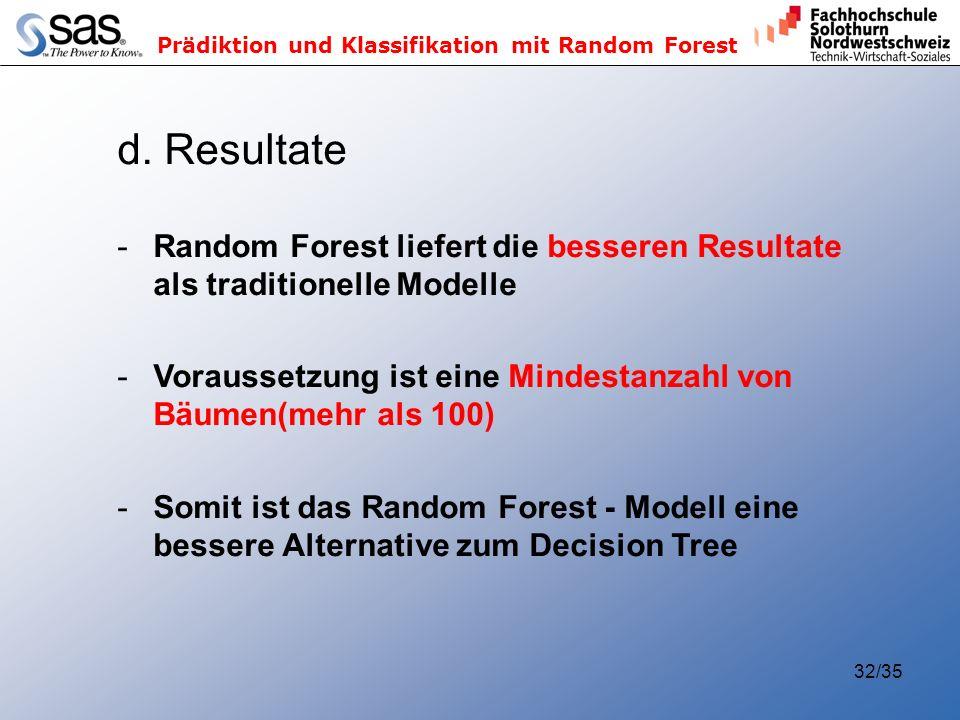 d. Resultate Random Forest liefert die besseren Resultate als traditionelle Modelle. Voraussetzung ist eine Mindestanzahl von Bäumen(mehr als 100)