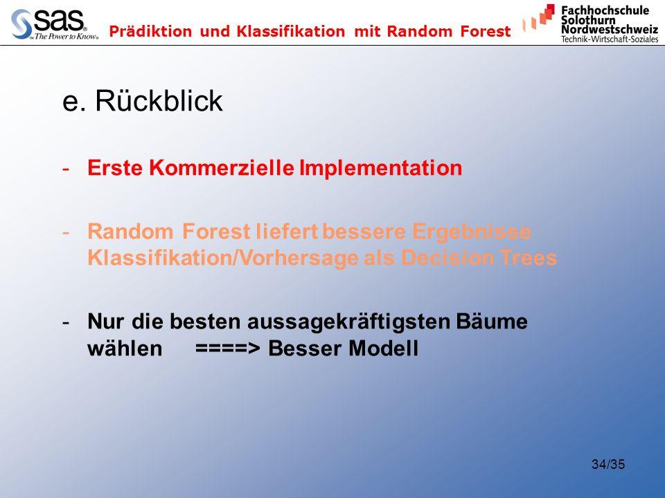 e. Rückblick Erste Kommerzielle Implementation
