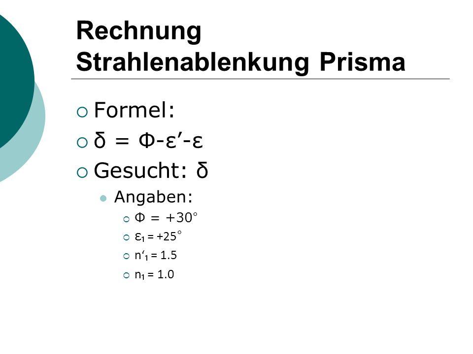 Rechnung Strahlenablenkung Prisma