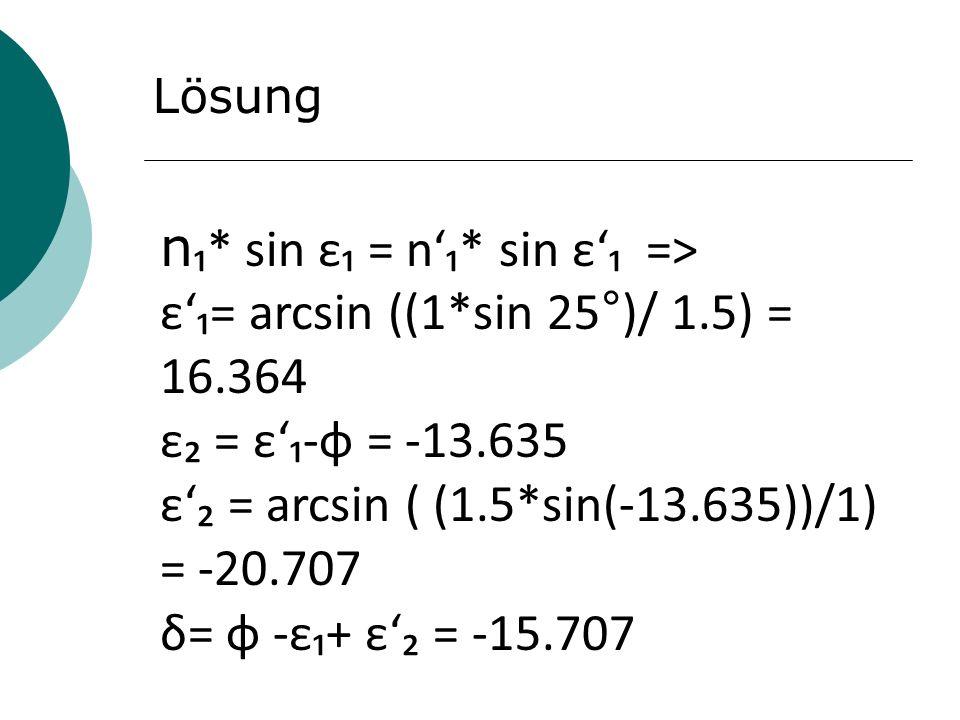 n₁* sin ε₁ = n'₁* sin ε'₁ =>