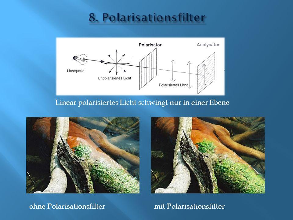 8. Polarisationsfilter Linear polarisiertes Licht schwingt nur in einer Ebene. ohne Polarisationsfilter.