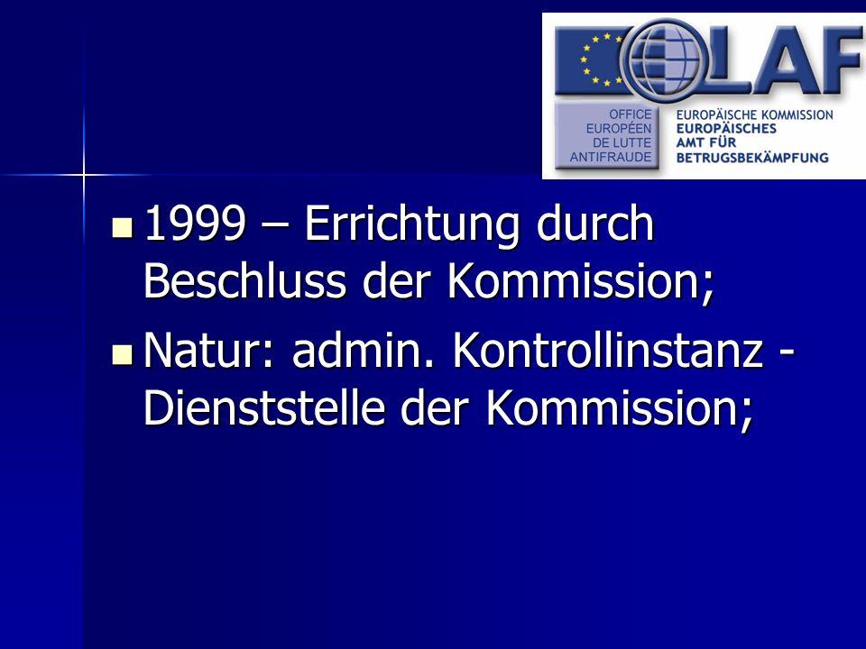 1999 – Errichtung durch Beschluss der Kommission;