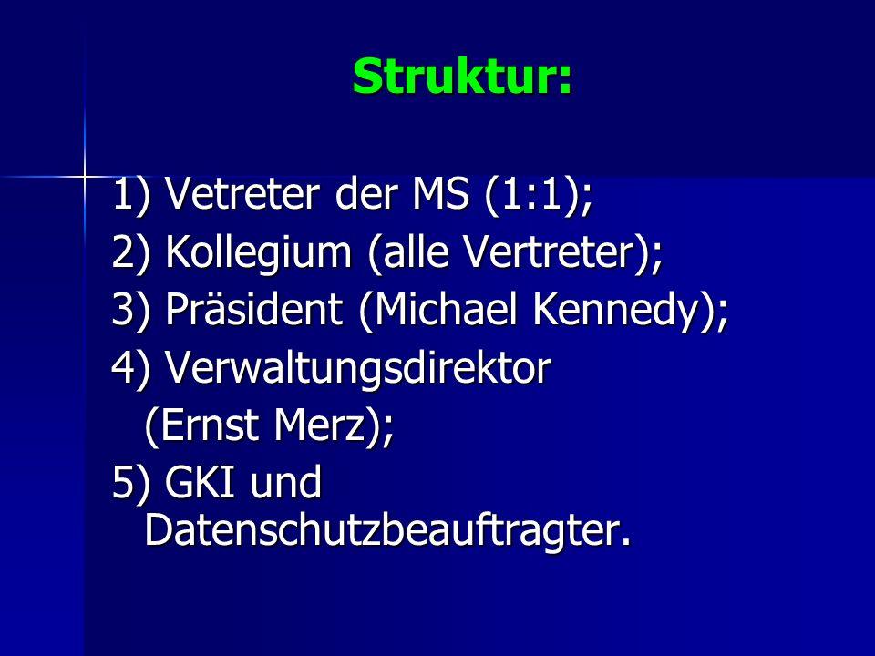 Struktur: 1) Vetreter der MS (1:1); 2) Kollegium (alle Vertreter);