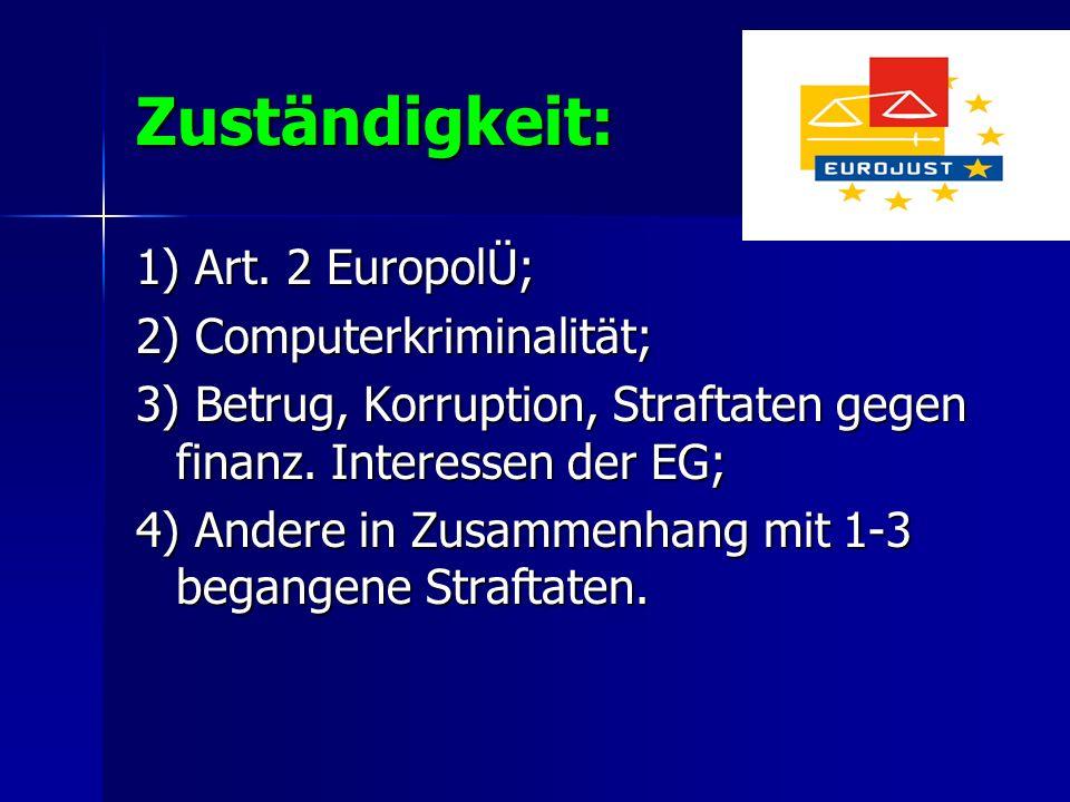 Zuständigkeit: 1) Art. 2 EuropolÜ; 2) Computerkriminalität;