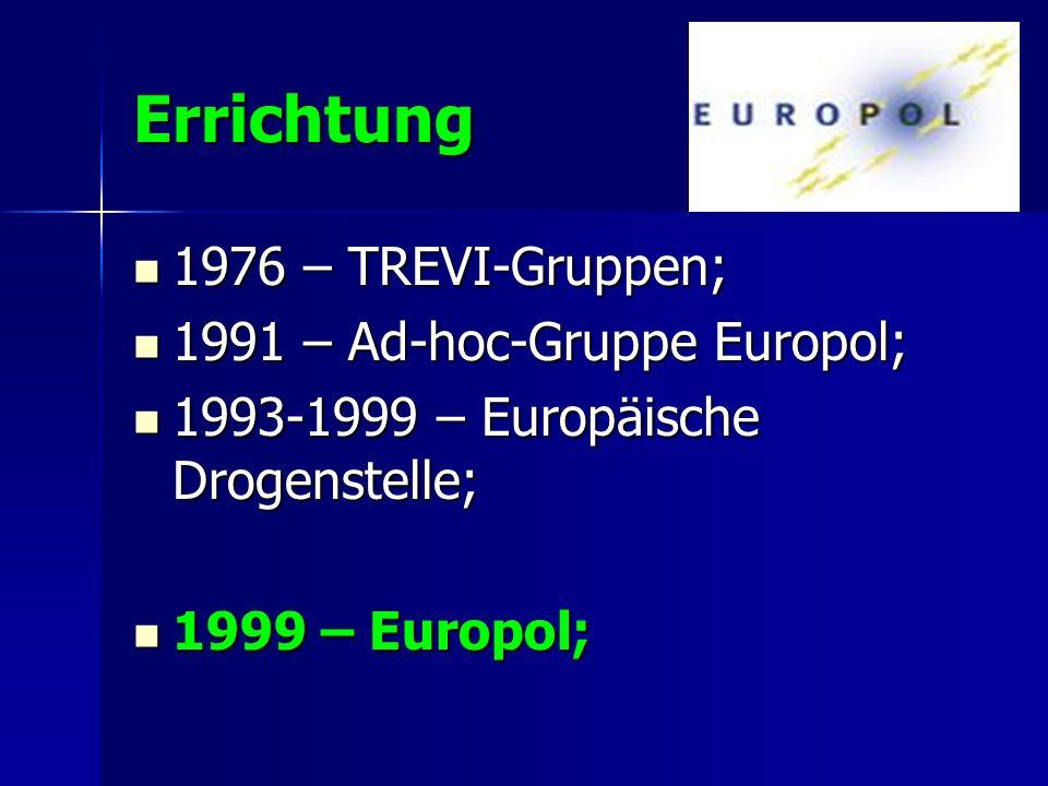 Errichtung 1976 – TREVI-Gruppen; 1991 – Ad-hoc-Gruppe Europol;