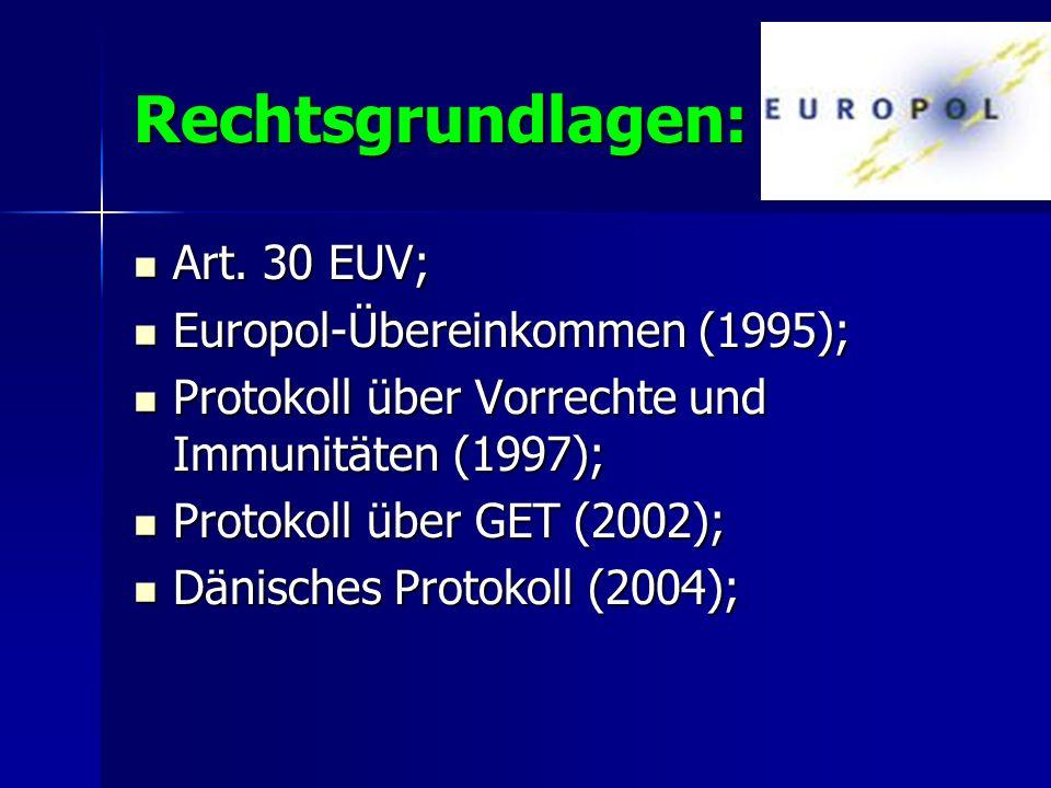 Rechtsgrundlagen: Art. 30 EUV; Europol-Übereinkommen (1995);