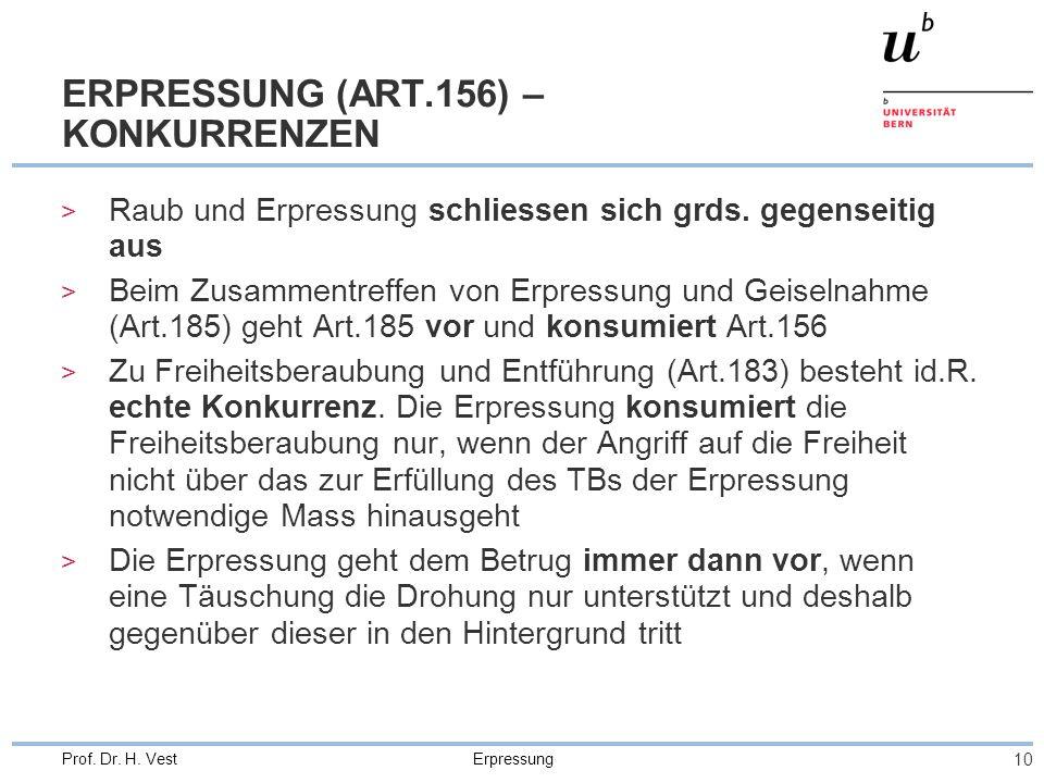 ERPRESSUNG (ART.156) – KONKURRENZEN
