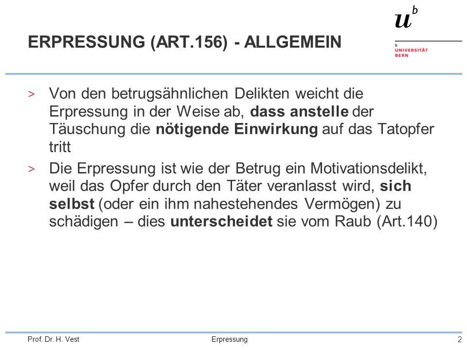 ERPRESSUNG (ART.156) - ALLGEMEIN