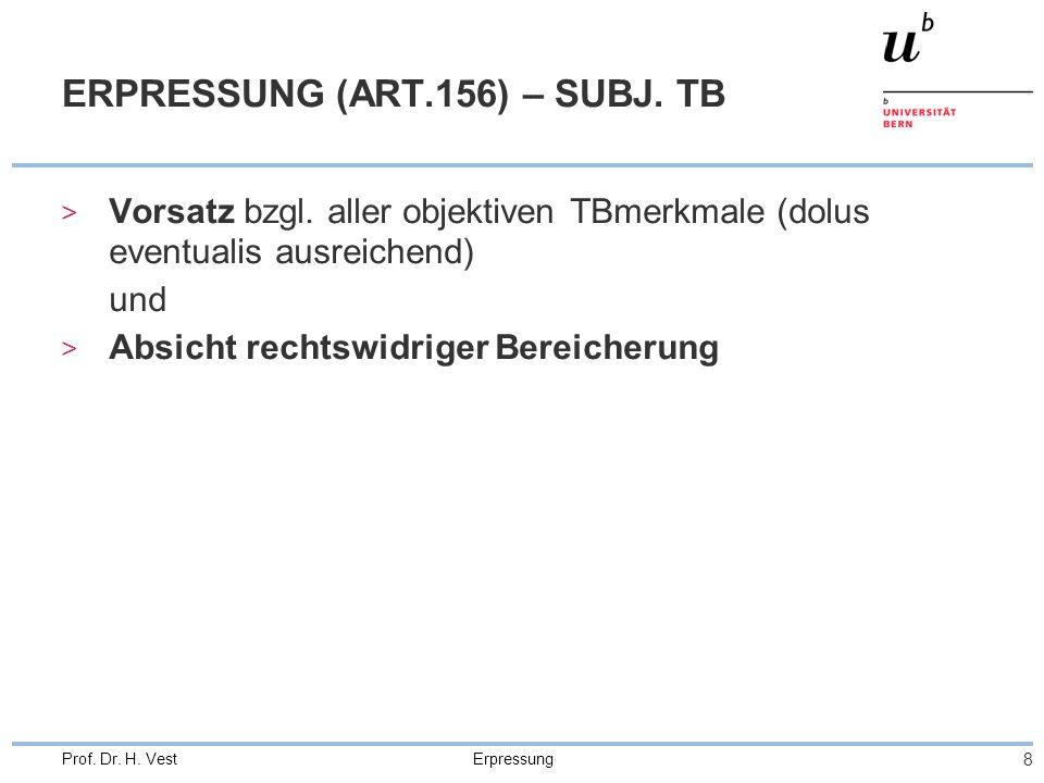 ERPRESSUNG (ART.156) – SUBJ. TB