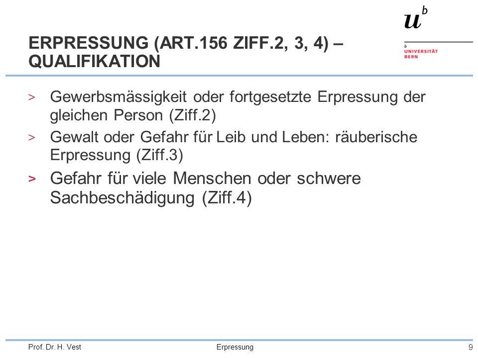 ERPRESSUNG (ART.156 ZIFF.2, 3, 4) – QUALIFIKATION