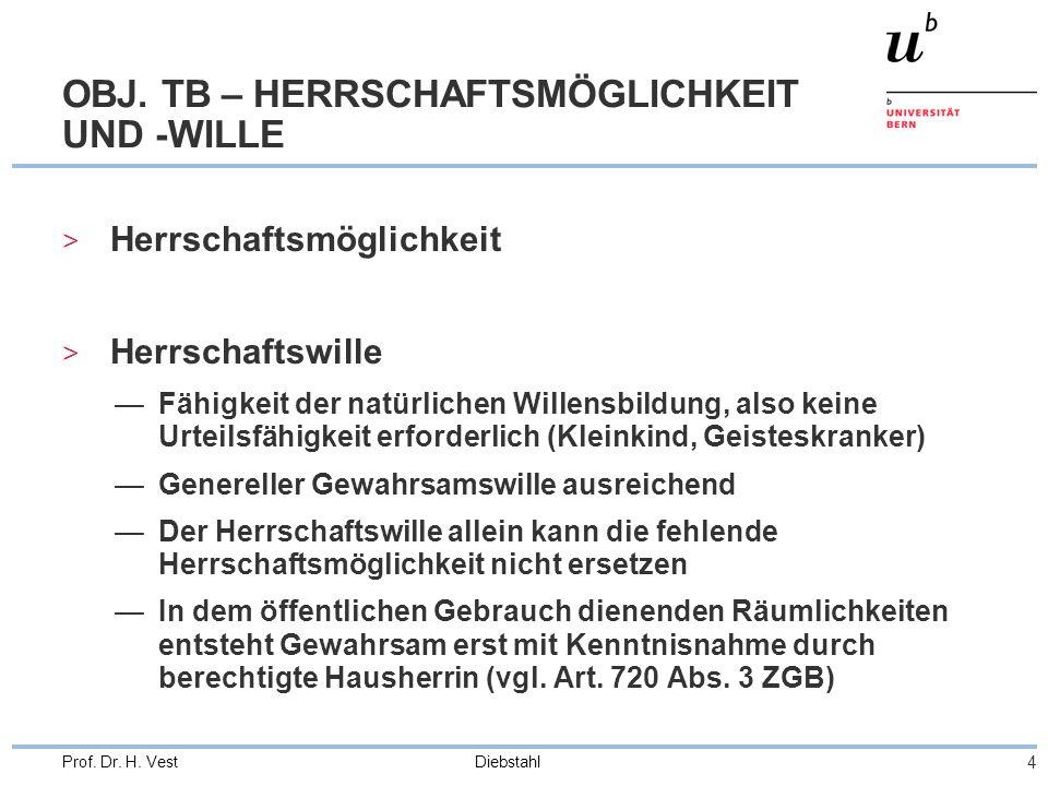 OBJ. TB – HERRSCHAFTSMÖGLICHKEIT UND -WILLE