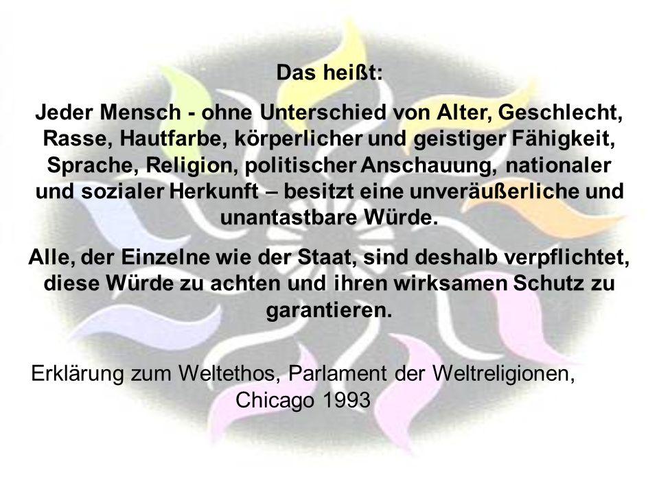 Erklärung zum Weltethos, Parlament der Weltreligionen, Chicago 1993