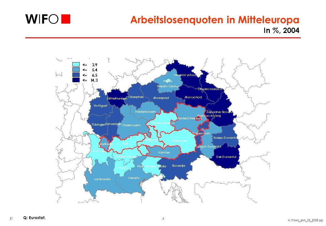 Arbeitslosenquoten in Mitteleuropa In %, 2004