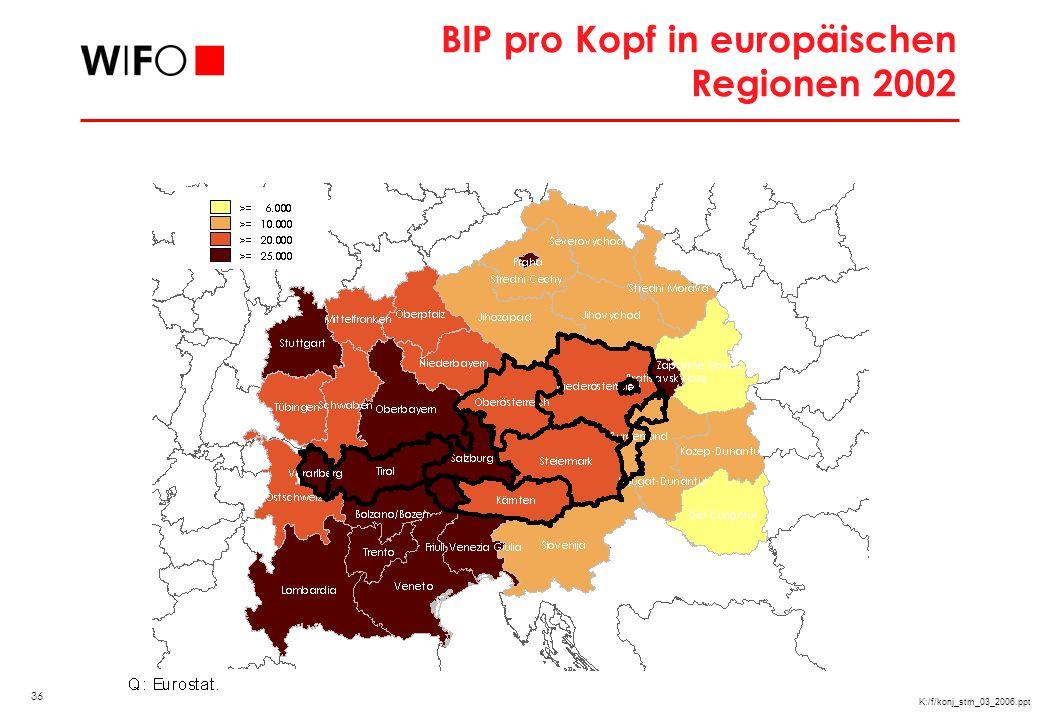 BIP pro Kopf in Mitteleuropa 2002, EU25=100 (KKP)