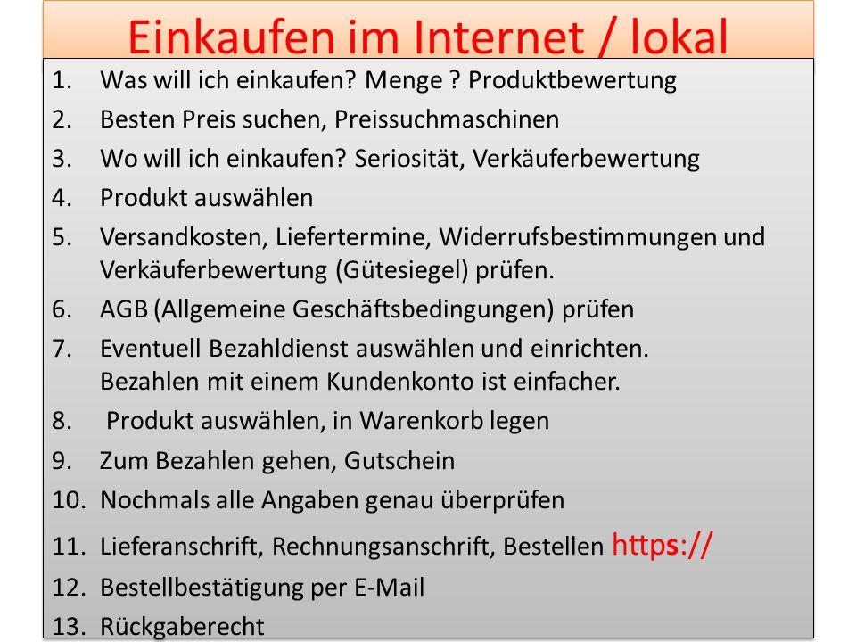 Einkaufen im Internet / lokal