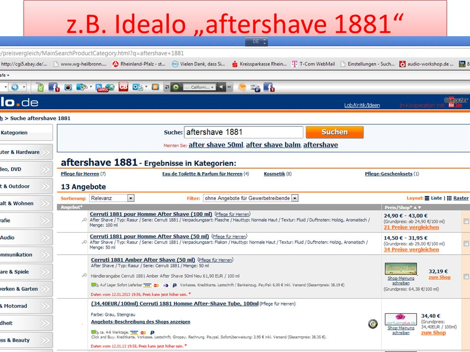 "z.B. Idealo ""aftershave 1881"