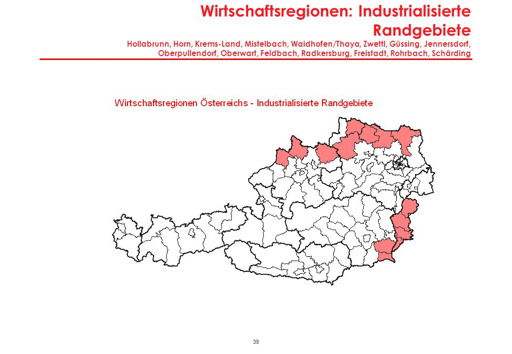 Charakteristika Industrialisierte Randgebiete Hollabrunn, Horn, Krems-Land, Mistelbach, Waidhofen/Thaya, Zwettl, Güssing, Jennersdorf, Oberpullendorf, Oberwart, Feldbach, Radkersburg, Freistadt, Rohrbach, Schärding
