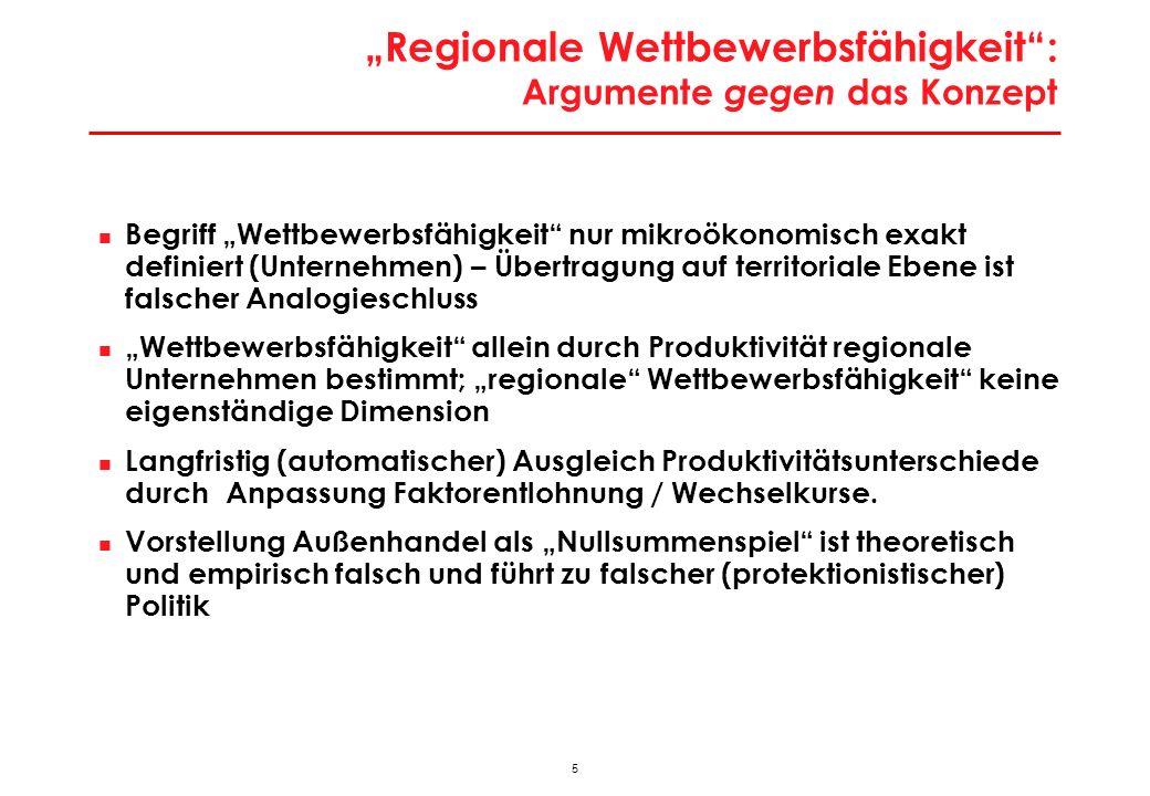 """""""Regionale Wettbewerbsfähigkeit : Argumente für das Konzept"""