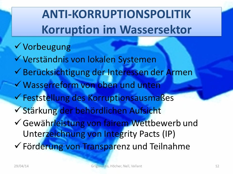 ANTI-KORRUPTIONSPOLITIK Korruption im Wassersektor