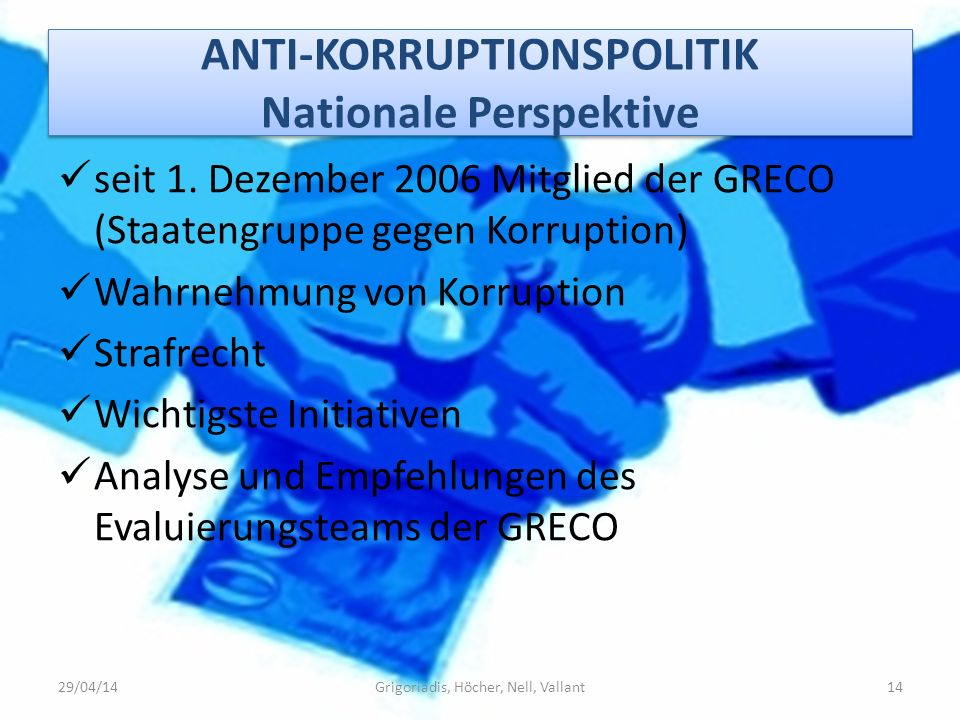 ANTI-KORRUPTIONSPOLITIK Nationale Perspektive