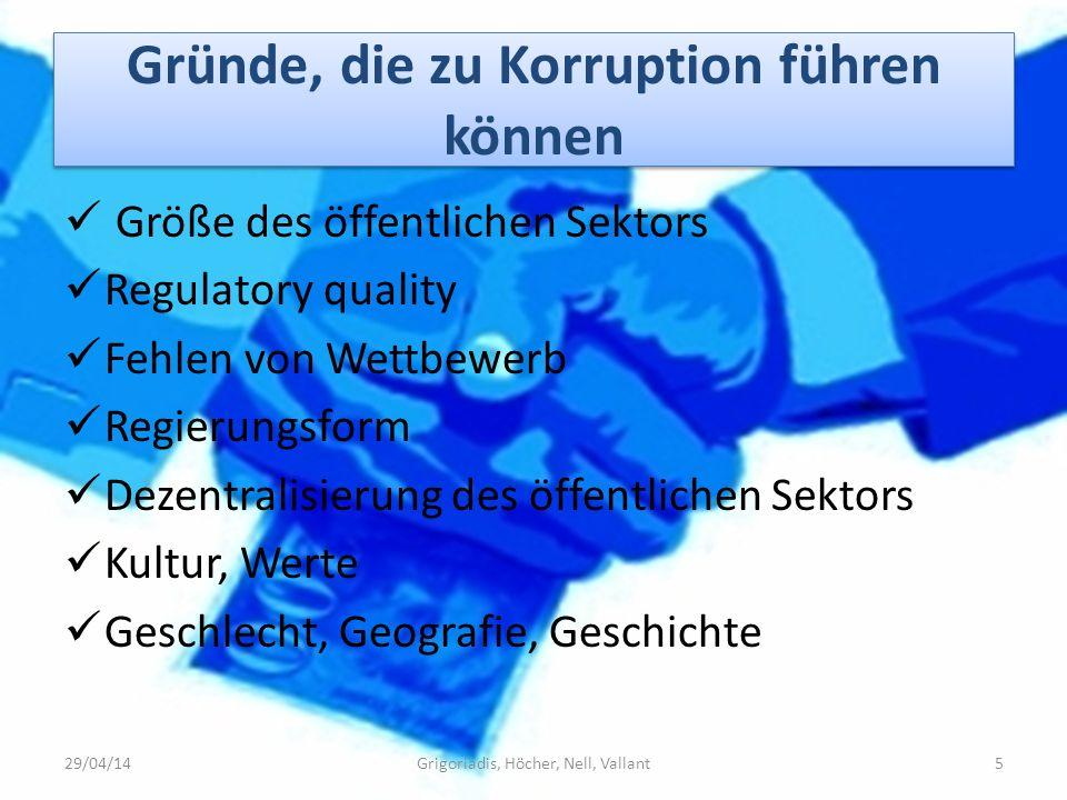 Gründe, die zu Korruption führen können