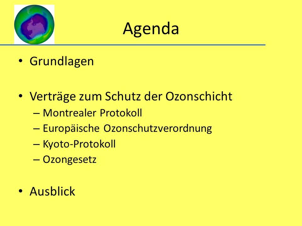 Agenda Grundlagen Verträge zum Schutz der Ozonschicht Ausblick