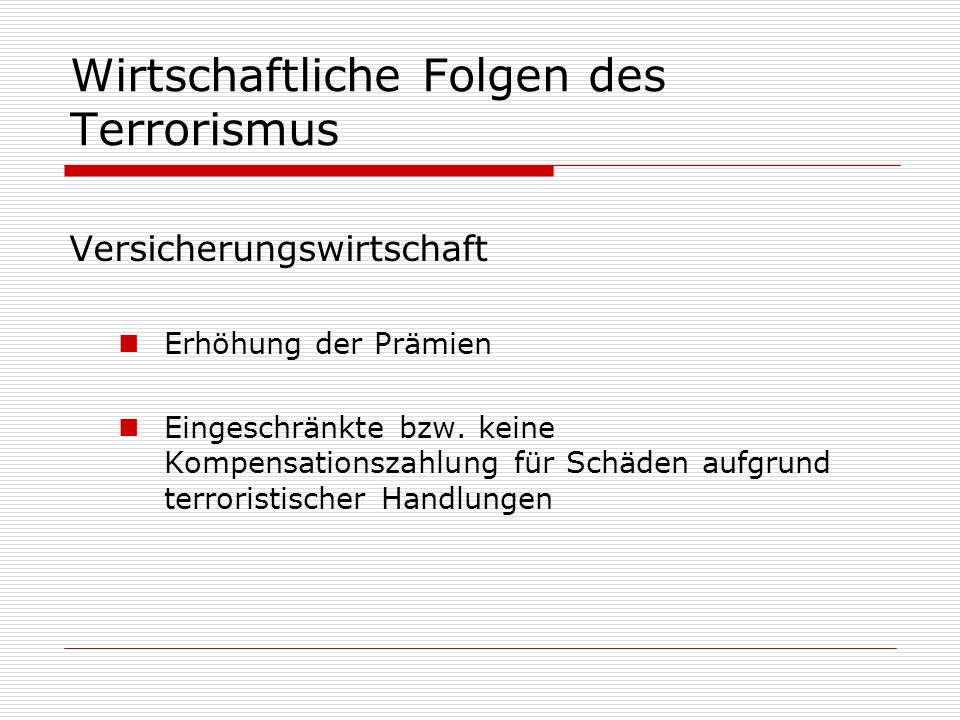 Wirtschaftliche Folgen des Terrorismus
