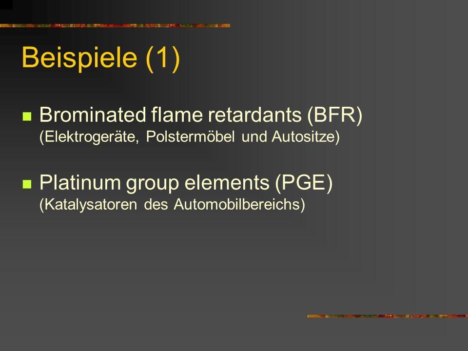 Beispiele (1) Brominated flame retardants (BFR) (Elektrogeräte, Polstermöbel und Autositze)