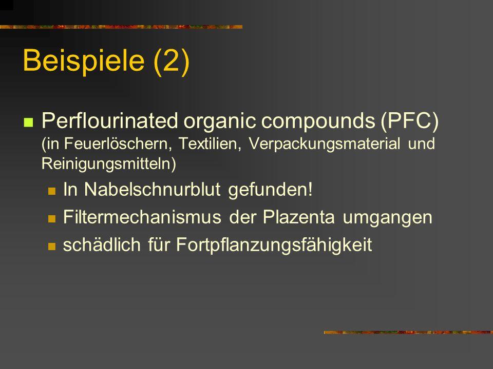 Beispiele (2) Perflourinated organic compounds (PFC) (in Feuerlöschern, Textilien, Verpackungsmaterial und Reinigungsmitteln)
