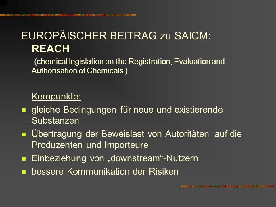 EUROPÄISCHER BEITRAG zu SAICM: REACH