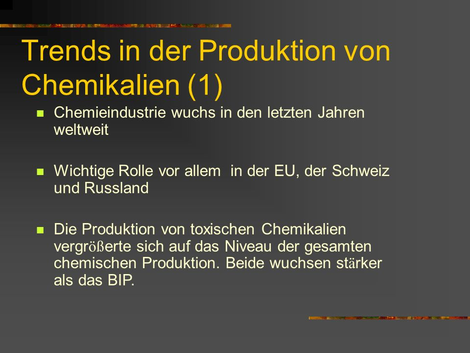 Trends in der Produktion von Chemikalien (1)
