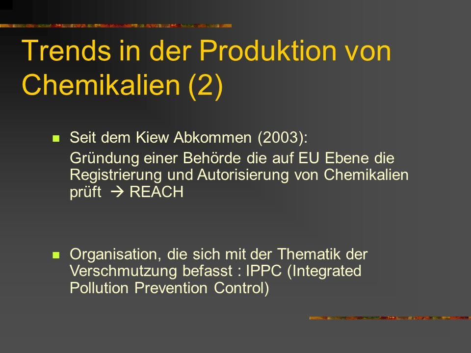 Trends in der Produktion von Chemikalien (2)