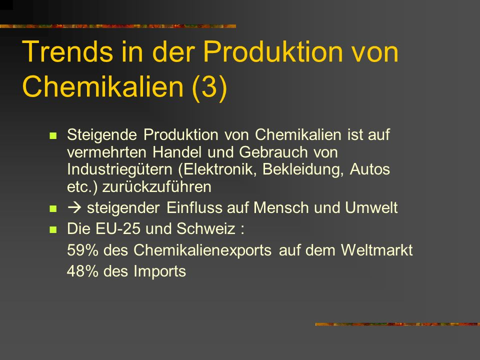 Trends in der Produktion von Chemikalien (3)
